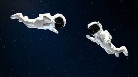 Two floating Astronaut helping each other in outer space . 3D rendering.