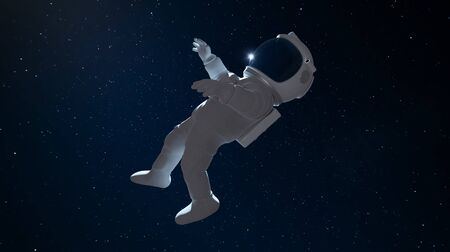 Astronaut floating in outer space. Clipping path include. 3D rendering. Imagens