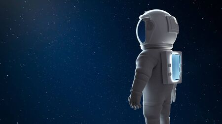 Astronaut watching toward in outer space. Clipping path include. 3D rendering. Imagens