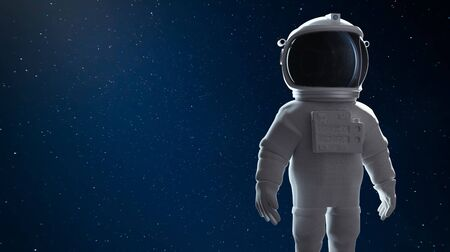 Astronaut standing in outer space. Clipping path include. 3D rendering. Imagens