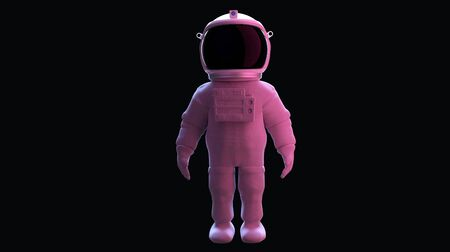 Astronaut standing. Isolated on black background with clipping path. Romantic light. 3D rendering.