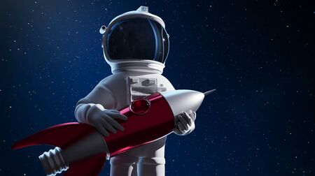 Astronaut holding his spaceship, conceptual illustration of the dream of great exploration. 3D rendering. Clipping path include.