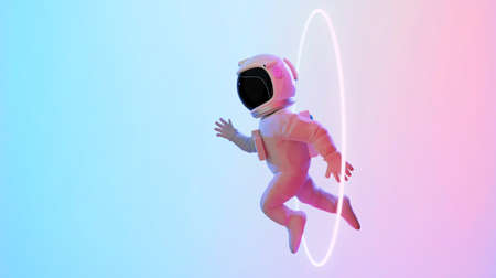 Astronaut escape from the void. Abstract psychedelic science fiction and astronomy surreal background. Side angle view. 3D rendering. Clipping path include. Imagens
