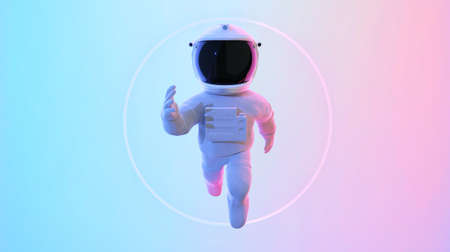 Astronaut escape from the void. Abstract psychedelic science fiction and astronomy surreal background. Front angle view. 3D rendering. Clipping path include.