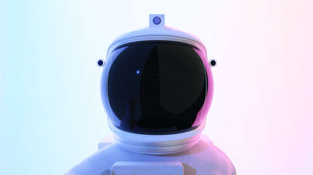Astronaut looking at camera . Abstract psychedelic science fiction and astronomy surreal background. Close up angle view. 3D rendering. Clipping path include. Imagens