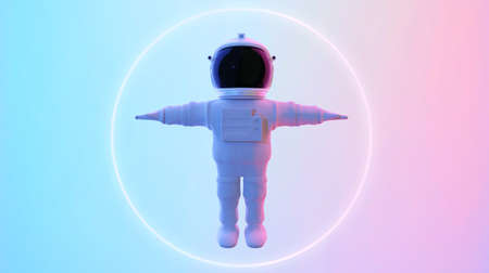 Astronaut standing in psychedelic color lighting. Abstract science fiction and astronomy surreal background. 3D rendering. Clipping path include. Imagens