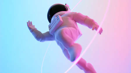Astronaut escape from the void. Abstract psychedelic science fiction and astronomy surreal background. Low angle view. 3D rendering.