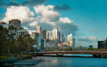 Beautiful day view of the Melbourne CBD , Australia .