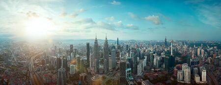 Panorama aerial morning view of beautiful Kuala Lumpur city skyline. Malaysia Imagens