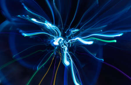 Abstract cool white glowing Impulse radiation and flow light background
