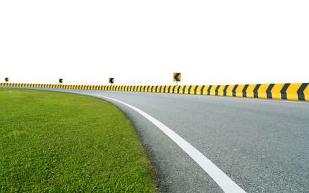 Curving asphalt racing track with yellow and black color arrow concrete railing isolated on white background 版權商用圖片