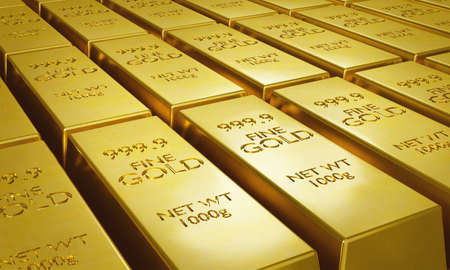 Gold bars 1000 grams in a row. Success in business and finance concept. 3d rendering