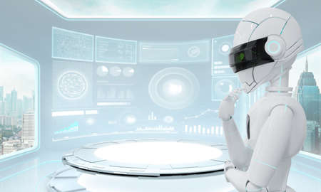 Ai Robot thinking with compute in futuristic lab with large windows and city urban landscape. Artificial intelligence technology concept. 3D rendering