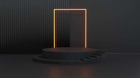 Stage with stair and square tube fluorescent light. Concept of product display platform. 3d rendering.