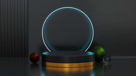 Round stage with circle tube fluorescent light and ball shaped decor. Concept of product display platform. 3d rendering.