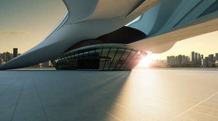 3D rendering architecture with futuristic streamlined design. Sunset scene