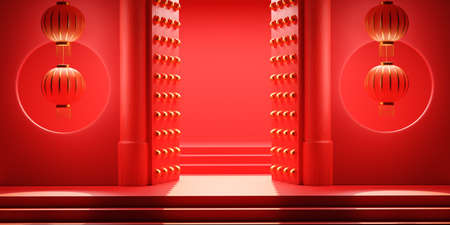 Open gate entrance in chinese style with red lantern. Happy Chinese New Year festival background concept. 3D rendering Standard-Bild