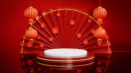 Red open chinese folding fan, lantern, blooming cherry and round stage for product display decorated. Happy Chinese New Year festival background. 3D rendering Archivio Fotografico
