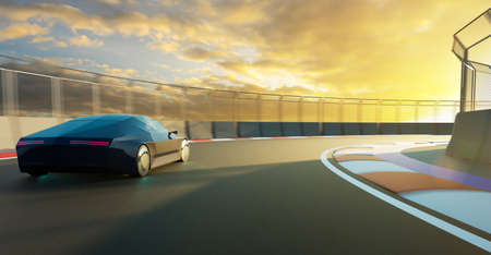 Brandless sport car run on the race track. 3d rendering with my own creative design. 스톡 콘텐츠