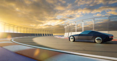 Brandless sport car run on the race track. 3d rendering with my own creative design.