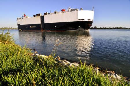 fraser: ship on Fraser River Stock Photo