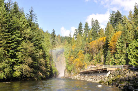 salmon falls: Capilano Creek in the autumn  Stock Photo