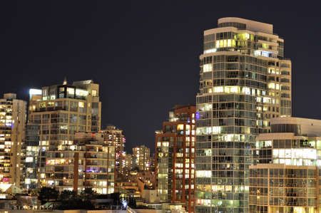 Night View of Residential Buildings in Vancouver photo