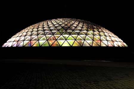 conservatory: Night View of Bloedel Conservatory Stock Photo