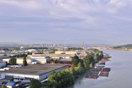 Industrial area by a river photo
