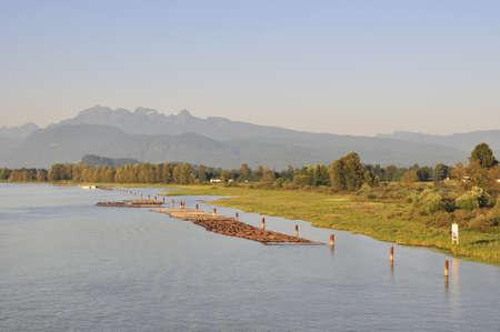 river bank: river bank at sunset