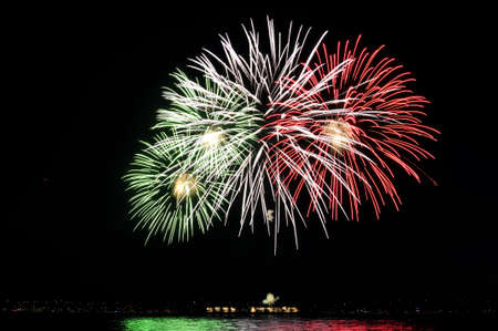 colorful fireworks reflecting over the water