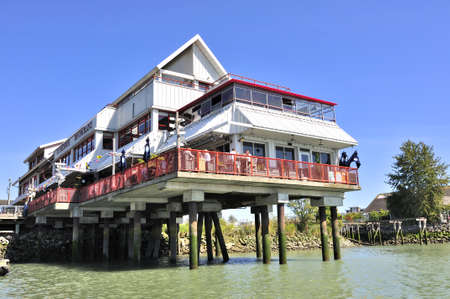 restaurant built by the river Stock Photo - 15132589