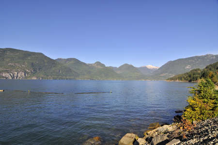 seaway: Sea inlet surrounded by mountains Stock Photo