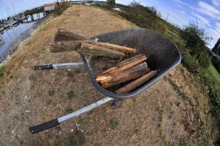 Fisheye view of a trolley on a river dike