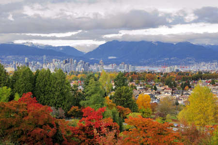 Vancouver city view in an autumn photo