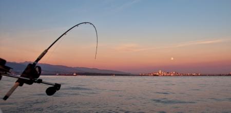 Trolling voor zalm uit een boot langs de oevers van Vancouver Stockfoto