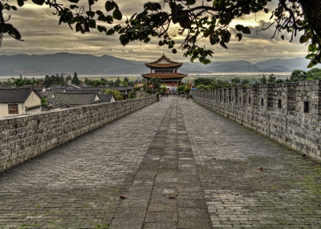 chinese temple: Taken in the Ancient city of Dali in Yunnan China on top of the old city wall  Stock Photo