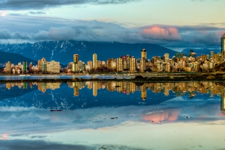 Taken from Kitsilano across the inlet this is a perfect refection of the city at sunset