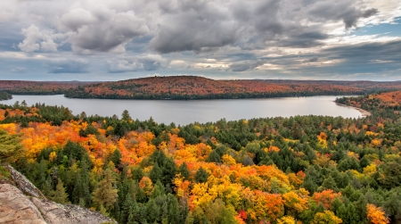View of Rock Lake from the the Booth rock trail in Algonquin Park, Ontario, Canada  photo
