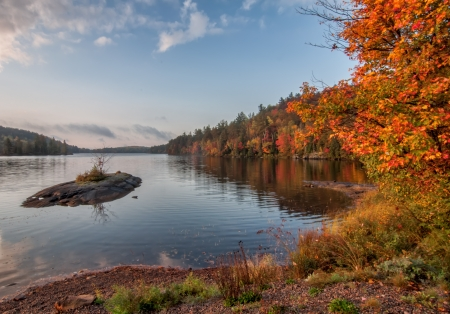Lanscape photo of a lake with vivid colorful trees and a small island