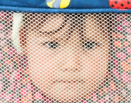 One year old half Chinese half caucasian baby hanging in a play pen looking through mesh. Stock Photo