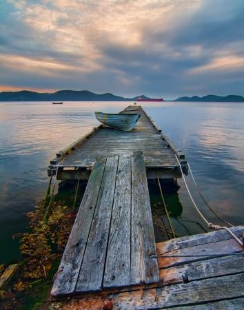 Rickety Island dock on Saturna Island in British Columbia Canada