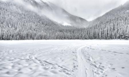 Bevroren meer met een slee trein in de berg met bomen bedekt met sneeuw