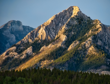As the sun set the light lit this peak with a nice yellow glow  Stock Photo