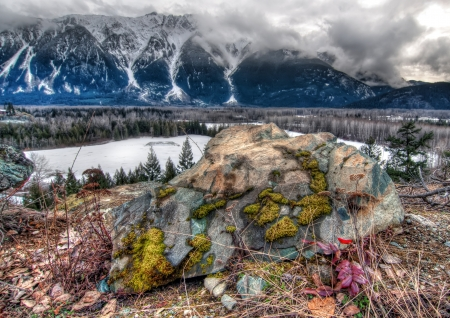 Large rock with colorful moss in front of snowy mountains photo