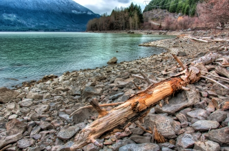 Log beside a turquoise lake on rocky shoreline photo