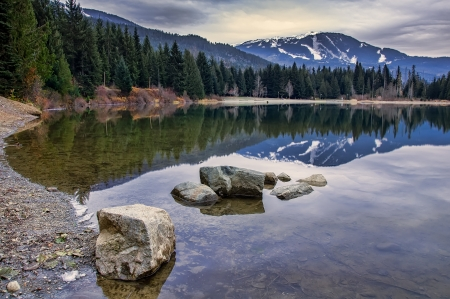 Reflection of Whistler mountain in pond with rocks photo