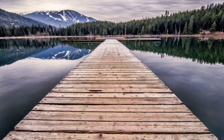 ski runs: In the summer this dock would be great for swimming but when I took this picture in November it was pretty deserted  Stock Photo