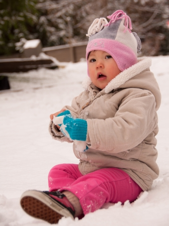 causation: Toddler sitting in snow looking cute