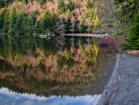 provincial forest parks: Alice lake in beautiful British Columbia with forest reflection Stock Photo
